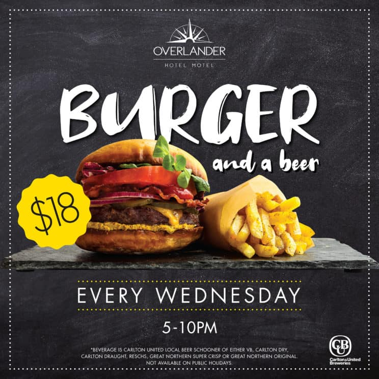 Burger and a Beer Wednesdays at The Overlander
